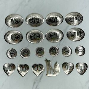 Silver Tone Lot of 20 Various Size Belt Jewelry Conchos Heart Round Oval