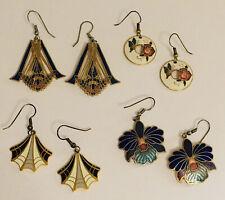 Lot of Cloisonne Colorful Pierced Dangle Earrings Blue Flowers Butterfly Vintage