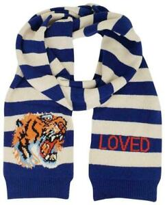 Gucci Blue/White Striped Wool Long Scarf with Tiger Head 500919 4278