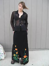 Vintage 70's Maxi Skirt Black Floral Embroidered Wool Knit Size 10 Hippie #Cl04