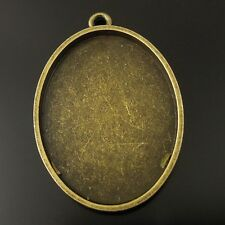 8PCS Vintage Bronze Oval Cameo Setting Cabochon Tray Inner Size 40*30mm 36305