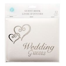 Victoria Lynn White Wedding Guest Book with Silver Lettering and Hearts 32 Pages