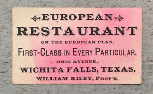 ca.1895-1905 Wichita Falls, Texas EUROPEAN RESTAURANT Business Card Ohio Ave. RI
