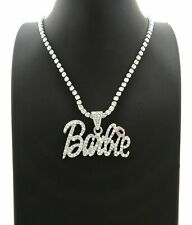 "Women's Hip Hop Iced BARBIE Pendant & 4mm 16"" Rhinestone Chain Fashion Necklace"