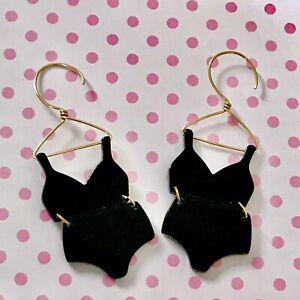 Cute Swimsuit / Underwear  Acrylic Fun Dangle Earrings/ Quirky/ Hoop Style