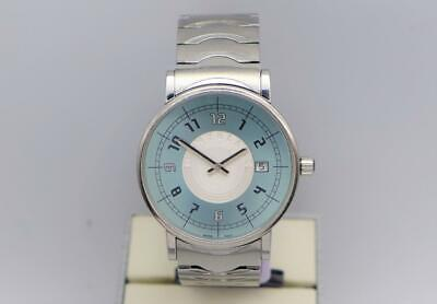 Montblanc Summit 7045 Stainless Steel Blue Silver White Dial Quartz Wristwatch
