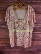 VENEZIA Womens Cream/Pink Floral Print Stretchy Peasant Style Blouse Top 22/24