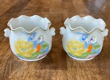 """1974 Seymour Mann WATER LILY Pair Cachepots Small 4""""x 3.5"""" Japan"""
