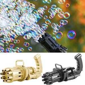 2 In 1 Automatic Gatling Bubble Gun Fan Bubble Maker Machine Kids Outdoor Games