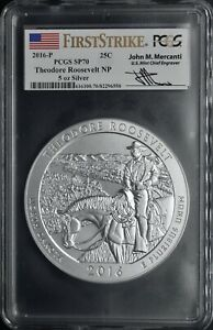 2016-P 25C Roosevelt NP FirstStrike PCGS SP70 Mercanti 5oz Silver