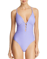 Red Carter Size S 4 / 6 Plunge Ribbed One Piece Maillot Swimsuit Lilac NWT $150
