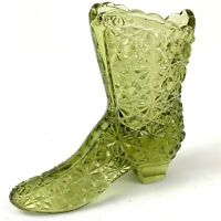 Vintage FENTON Art Glass Green Daisy Boot Shoe Decorative Figurine Signed 4""