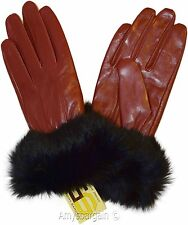 Real Fox fur, Leather Gloves (M) Women's Gloves, Warm Lined Winter Dress Gloves