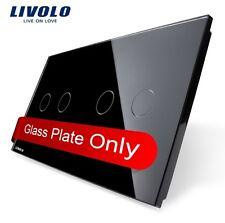 2 Fach Glasabdeckung für Touch Serien- Rolladenschalter Livolo Schwarz 2G + 2G