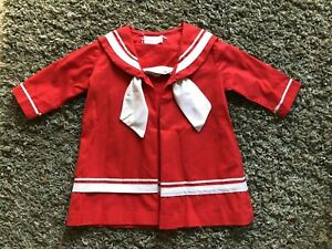 Vintage Baby Girl Red Sailor Dress by Bonnie Jean Sailor Dress Red
