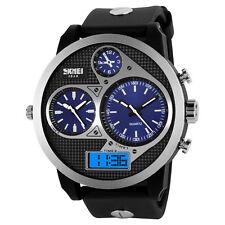 Montre Bleue Gros CADRAN Homme-3 fuseaux horaires–Analogique– Digitale - Led