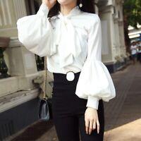 Ladies Girl Puff Sleeve Shirt Retro Lolita Top Retro Blouse Bow Victorian Cute