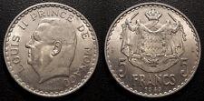 Monaco - Louis II - 5 francs aluminium 1945 - qualité ! KM#122