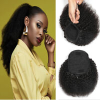 Drawstring Ponytail Mongolian Afro Kinky Curly 100% Human Hair Clip on 4B 4C Bun