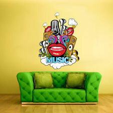 Full Color Wall Decal Sticker Drum Bass Instruments Notes Music Lips (Col325)