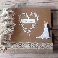 Rustic Wedding Guestbook /  Wedding Photo Album Hessian Burlap Ribbons