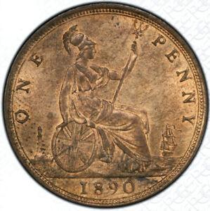 1890 UNC Queen Victoria Penny PCGS MS63