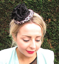Black Rose Flower Leopard Animal Print Hat Headpiece Fascinator Rockabilly 1606