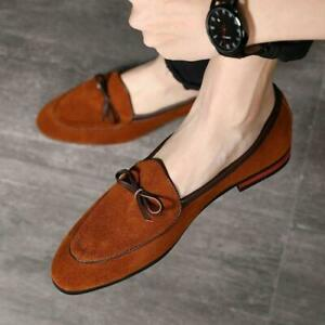 Mens Pointed Toe Suede Leather Bowknot Formal Slip On Casual Loafers Dress Shoes