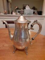 Vintage Leonard Silverplated Ornate Footed Teapot Coffee Pot