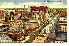 Aerial View-Canal Street-Trollies-Modern New Orleans-Louisiana-Vintage Postcard