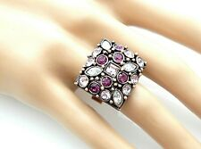 Antiqued Copper Amethyst Crystal Clear Rhinestone Cocktail Statement Bold Ring