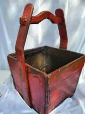 Antique Large Asian Chinese Wood Rice Grain Gathering Harvest Bucket
