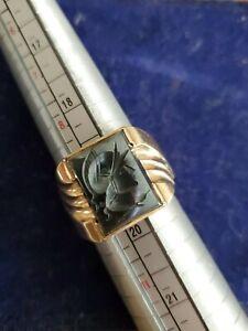 10k Deco Gold Hematite Roman Soldier Ring Carved Intaglio Signet Sz10 Estate Vtg