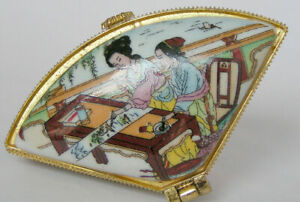 FREE SHIPPING Porcelain Jewelry box painted ancient Chinese girl drawing pict 发