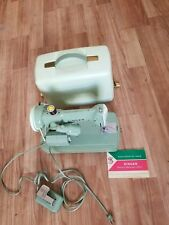 Heavy Duty Vtg Singer Sewing Machine 185J 3/4 Size Small Green - Clean!!