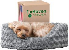 Furhaven Round Pet Beds for Small, Medium, and Large Dogs - Snuggery Dog Bed wit