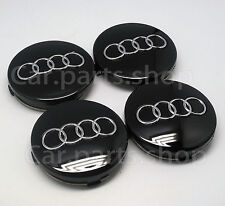 4x 60mm Audi Wheel Center Caps Emblem- Black Cover Hub 4B0 601 170  4B0601170