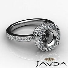 Diamond Halo Pave Set Round Semi Mount Engagement Javda Ring Platinum 0.8 Carat