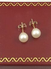 Classic Genuine Cultured 6.5mm Round Pearl Stud Earrings, Solid 14kt Gold, New