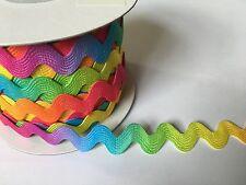 Multicoloured Rainbow Ric RAC 10mm Ribbon Braid Trimming - 1 Metre Lengths