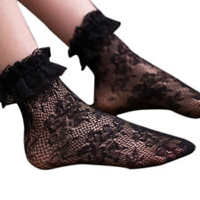 Women Girls Retro Floral Lace Sheer Ankle Socks With Ruffle Princess Stockings