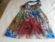 Morrell Maxi Dress Silk multi color floral colorful sequin size 10 must see