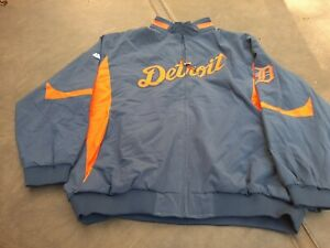 Vintage Detroit Tigers Majestic Full Zip Jacket Mens 5XL Blue Orange.