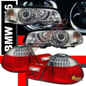 00 01 02 BMW E46 323ci Coupe Halo Projector Headlights Corner & LED Tail Lights