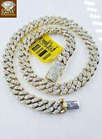Mens Miami Cuban Link Diamond 10k Bracelet Link Yellow Gold  Box Clasp 7.5 inch