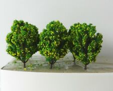 6 x YELLOW GREEN MODEL TREES 8 cm SCENERY FOR MODEL RAILWAY HO SCALE & WAR GAMES