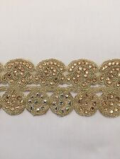 ATTRACTIVE INDIAN HANDCRAFTED GOLD CRYSTALS IN CIRCLE PATTERN - Sold By metre