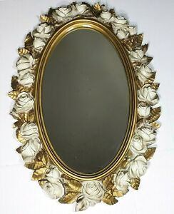 Vintage Ornate Regency Syroco Homco Style White Roses & Gold Frame Oval Mirror