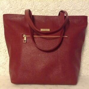 """""""Onna Ehrlich"""" carry all tote in genuine wine red pebbled leather MSRP $ 498.-"""