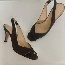 Hobbs brown suede sling back heel peeptoe size 7.5